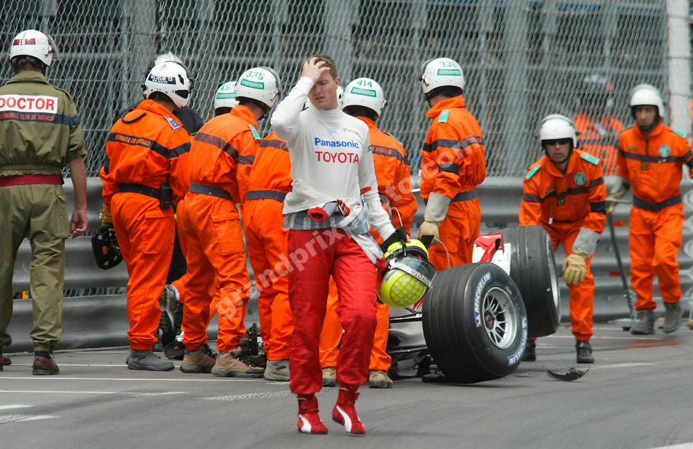 Toyota driver Ralf Schumacher walks away after his crash in qualifying for the 2005 Monaco Grand Prix. Photo: Grand Prix Photo