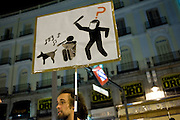 Between 12 to 15 May, was held in Spain to commemorate the creation of the Spanish revolution and movement 15M.Los preparations began weeks before the 11th day but met different groups to paint the banners for the event. The Puerta del Sol is the place of the celebration in Madrid. Daytime activities were developed as popular assemblies or caceroladas in protest.<br /> Every night between days 12 to 15 police eviction Outraged at the Puerta del Sol to not camped.<br /> At the end of day 15 was organized a protest march around the Sun<br /> The police organized a strong device in which to control the demonstrators.<br /> The protest ended with selective identifications but no arrests.