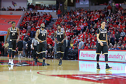 14 January 2017:  Darral Willis Jr., Shaquille Morris, Zach Brown and Landry Shamet during an NCAA  MVC (Missouri Valley conference) mens basketball game between the Wichita State Shockers the Illinois State Redbirds in  Redbird Arena, Normal IL