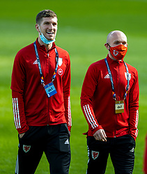 DUBLIN, REPUBLIC OF IRELAND - Sunday, October 11, 2020: Wales' Chris Mepham (L) and Jonathan Williams, wearing face masks, before the UEFA Nations League Group Stage League B Group 4 match between Republic of Ireland and Wales at the Aviva Stadium. The game ended in a 0-0 draw. (Pic by David Rawcliffe/Propaganda)