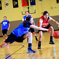 040413       Adron Gardner<br /> <br /> Arizona All-Star and Window Rock Scout Aspen Sheperd (22), left,  reaches for a loose ball across New Mexico All-Star and Navajo Pine Warrior Kaitlin Chee (24) during the girls All-Star game at Miyamura High School in Gallup Thursday.