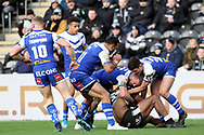 St Helens second row forward Luke Thompson (10) and St Helens back row forward Zeb Taia (11) thwart a Hull FC attack during the Betfred Super League match between Hull FC and St Helens RFC at Kingston Communications Stadium, Hull, United Kingdom on 16 February 2020.