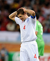 An Uhappy Steven Gerrard<br /> England World Cup 2010<br /> England V Algeria (0-0) 18/06/10 Group C at Durban<br /> FIFA World Cup 2010<br /> Photo Robin Parker Fotosports International