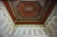 Mocarabe Berber arabesque plasterwork and wood inlaid ceiling.The Petite Court, Bahia Palace, Marrakesh, Morroco