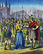 Harassment and persecution of Christians in the Roman Empire during the 4th century..  Mid-19th century illustration