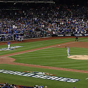 Closer Wade Davis, Kansas City Royals, pitching to Wilmer Flores, New York Mets, for the final out during the New York Mets Vs Kansas City Royals, Game 5 of the MLB World Series at Citi Field, Queens, New York. USA. 1st November 2015. Photo Tim Clayton