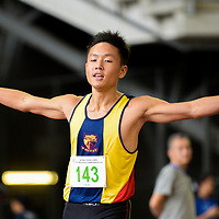 Mark Lee (#143) of Anglo-Chinese School (Independent) clinches first in the C Division boys' 4x100m relay final with a timing of 45.29s. (Photo © Eileen Chew/Red Sports)
