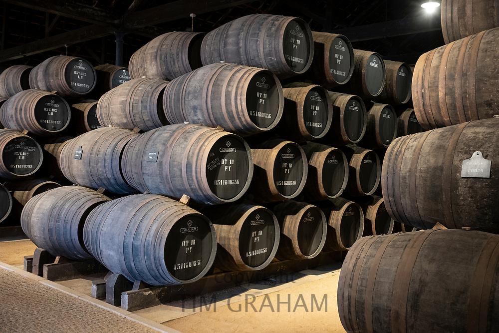 Caskets in port wine cellars at Graham's Port Lodge in V la Nova de Gaia in Porto, Portugal