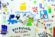 """""""One Republic Glasgow"""" message for devolution debate exhibited at Atelier Public 2, exhibition of free expression artworks by members of the public, on display in Gallery of Modern Art, GoMA, Glasgow, Scotland"""