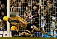 Photo. Glyn Thomas. 22/02/2005.<br /> Coventry City v Stoke City. Coca Cola Championship.<br /> Stoke's keeper Steve Simonsen saves Gary McSheffrey's penalty.