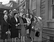 21/04/1960<br /> 04/21/1960<br /> 21 April 1960<br /> Golden Jubilee of the I.C.A.. The Annual General Meeting of the Irish Countrywomen's Association at the Mansion House, Dublin. Picture shows the Cork delegates at the meeting chatting to their president Mrs Nora Burton. Front row(l-r): Mrs G. Forrest; Mrs Nora Kelleher; Mrs Nora Burton, President, Cork Federation, I.C.A.; Mrs Mary Caulfield, Macroom Guild; Mrs N. Jennings and Mrs W.(N.?)  Dunne. Included in the back row are Mrs Maureen Lane, Kilmurry; Mrs K. Gleeson; Mrs N. Curtis; Professor Mary Boyle, Vice President I.C.A. and Mrs L. Becher, Skibereen.