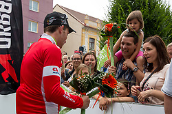 Simone Consonni of UAE and the fans after 1st Stage of 25th Tour de Slovenie 2018 cycling race between Lendava and Murska Sobota (159 km), on June 13, 2018 in  Slovenia. Photo by Matic Klansek Velej / Sportida