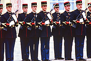 A French honorguard   at the Economic Summit in France held at the Palace of Vers inailles 1982<br /> Photo by Dennis Brack. bb77