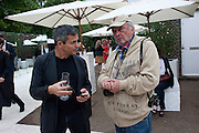 HARRY HANDLESMAN; DAVID BAILEY, The Summer party 2011 co-hosted by Burberry. The Summer pavilion designed by Peter Zumthor. Serpentine Gallery. Kensington Gardens. London. 28 June 2011. <br /> <br />  , -DO NOT ARCHIVE-© Copyright Photograph by Dafydd Jones. 248 Clapham Rd. London SW9 0PZ. Tel 0207 820 0771. www.dafjones.com.