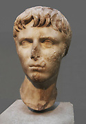Marble head of Gaius Caesar (20BC - AD 4), Roman, eldest son of Julia and Agrippa.  Gaius was an obvious successor to Augusus and started his miliary and civic career when he was very young.  His untimely death provoked unparalleled national mourning.
