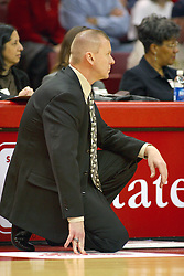12 March 2005<br /> <br /> Sycamore Coach Jim Wiedie.<br /> <br /> 8th seed and Tournament Host, Illinois State University Redbirds, played spoiler and best the #1, #2 & #4 ranked teams to win the Missouri Valley Confernce Hoops in the Heartland Tournament.  In the final game today, the Redbirds bested the #2 seeded Indiana State University Sycamores by 2 points with a .8 second to go buzzer beater jump shot from the middle of the lane.  The Redbirds get an automatic birth to the NCAA Tournament. The Redbirds last played in the NCAA Tournament in 1989.  Hoops in the Heartland was held at Redbird Arena, Illinois State University, Normal IL