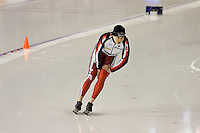 Calgary - December 5, 2009 - Essent ISU World Cup Speedskating at the Olympic Oval in Calgary.  Cindy Klassen of Canada warms up prior to her race the A Division of the women's 1500m event...©2009, Sean Phillips.http://www.Sean-Phillips.com