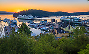 The ferry landing at Friday Harbor on San Juan island<br /> ---<br /> Friday Harbor is a town in San Juan County, Washington, United States. Located on San Juan Island, Friday Harbor is the major commercial center of the San Juan Islands archipelago and is the county seat of San Juan County. In 1845 the Hudson's Bay Company laid claim to San Juan Island. In 1850 they built a salmon curing station. A few years later they started a sheep farm. The town's name originates from Joseph Poalie Friday, a native Hawaiian. Friday worked at the Pugets Sound Agricultural Company's Fort Cowlitz, from 1841 to 1859–60 and later moved north to San Juan Island, raising and herding sheep around the harbor. After the peaceful settlement obtained following the Pig War, the San Juan Islands became a separate county in 1873. Friday Harbor was named the county seat. Friday Harbor was officially incorporated on February 10, 1909. It remains the only incorporated town in the San Juan Islands.[10]<br /> <br /> Sailing ships, and later, the steamships of the Puget Sound Mosquito Fleet, visited the harbor on a regular basis hauling passengers, mail and freight. Freight from the island would include apples, pears, cherries, strawberries, peas, cream, eggs, chickens, grain, salmon, and lime. All were produced on or around San Juan Island. The Great Depression, World War II, the pea weevil, and competition from Eastern Washington growers brought about the decline of traditional island industries, diminishing Friday Harbor's export trade. The 1970s brought new industries - tourism, retirement, real estate, and construction. Today, Friday Harbor is again busy and prosperous.<br /> <br /> Osamu Shimomura harvested jellyfish from the docks of the harbor. Eventually he purified the proteins that allow the jellyfish to fluoresce green when exposed to blue light. One of them, green fluorescent protein, is now widely used as a marker of molecular activity.