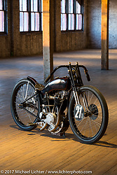 Michael Lange's 1921 Harley-Davidson Banjo Two-Cam privateer racer during  the Mama Tried Bike Show. Milwaukee, WI, USA. Sunday, February 19, 2017. Photography ©2017 Michael Lichter.