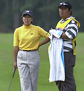 Friday 3rd August 2001.Kasumi Fujii, chat's with her caddy atthe 11th green.2001 Weetabix Women's Open, Sunningdale,..[Mandatory Credit Peter Spurrier/ Intersport Images]