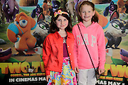 NO FEE PICTURES <br /> 19/4/15 Katie Glennon, age 7 and Milly Lynch, 7, Ballinalee, Longford, at the Irish Premiere of Two by Two at the Savoy cinema in Dublin. Picture:Arthur Carron