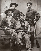 """William F. """"Buffalo Bill"""" Cody (seated left) with Grand Duke Alexis (seated right) with unknown soldiers standing, 1872"""
