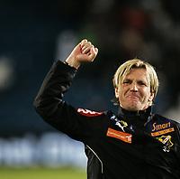 Fotball<br /> Tippeligaen Eliteserien<br /> 15.09.08<br /> Ullevaal Stadion<br /> Vålerenga VIF - Lyn<br /> Debutant - trener Kent Bergersen jubler etter kampen<br /> Foto - Kasper Wikestad
