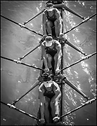 Plovdiv, Bulgaria, Wednesday,   06/10/2021, USA  W4X,  Women's Quadruple Sculls, passing the suspension bridge, across the racing course,2018 FISA World Rowing Championship, Plovdiv Regatta Venue, [ © Intersport Images],