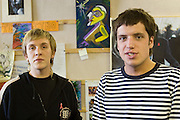 Moscow, Russia, 10/08/2006..Voluntary workers Alexei Kozyrev [blond] and Pyotr Nikitenko at the Yasen peer to peer AIDS advice centre. Nikitenko is an ex heroin user and has Hepatitis B.