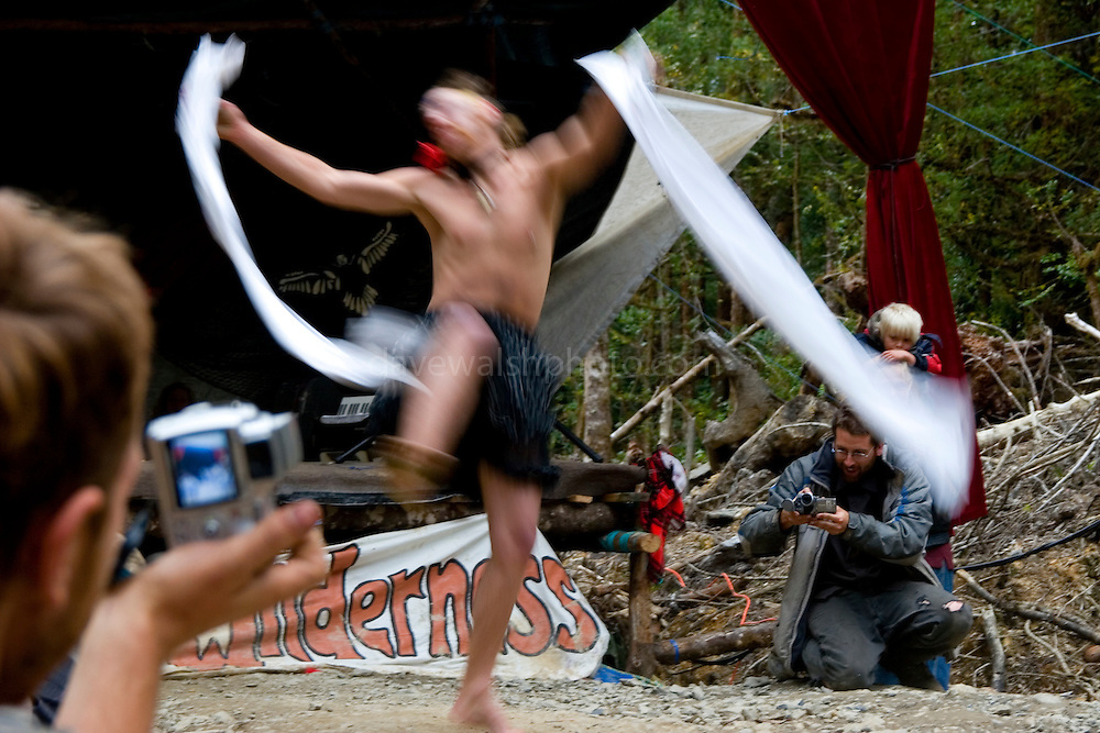 """This gentleman, dancing to Metallica, won the Miss Florentine prize - a talent and """"beauty"""" contest as part of a weekend of fun at the Upper Florentine  protest camp in Tasmania. The stage is blocking  the forest access road made by contractors for Forestry Tasmania, in order to stop the logging of old growth forest in what is potentially a World Heritage Area."""