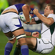 Francois Steyn, South Africa, makes a tackle during the South Africa V Samoa, Pool D match during the IRB Rugby World Cup tournament. North Harbour Stadium, Auckland, New Zealand, 30th September 2011. Photo Tim Clayton...