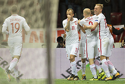 October 8, 2017 - Warsaw, Poland - Polish players celebrate after scoring during the FIFA World Cup 2018 Qualifying Round Group E match between Poland and Montenegro at National Stadium in Warsaw, Poland on October 8, 2017  (Credit Image: © Andrew Surma/NurPhoto via ZUMA Press)