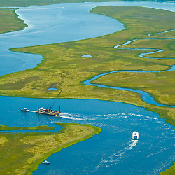 Aerial view of Dredging in New jersey wet lands