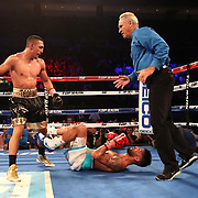 NEW ORLEANS, LA - JULY 14:  Teofimo Lopez knocks out William Silva during their WBC Continental Americas Title boxing match at the UNO Lakefront Arena on July 14, 2018 in New Orleans, Louisiana.  (Photo by Alex Menendez/Getty Images) *** Local Caption *** Teofimo Lopez; William Silva