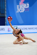 Vladinova Neviana during final at ball in Pesaro World Cup 03 April 2016. Neviana is a gymnast from Bulgaria. She is born in Pleven in 1994. Her dream is to win a medal at the 2020 Olympic Games in Tokyo..