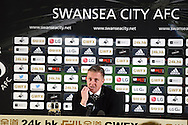 file pic Garry Monk has been sacked as Swansea manager on 9/12/2015. Swansea city manager Garry Monk speaks to the press at his final press conference after seeing his team lose the match 0-3. Barclays Premier league match, Swansea city v Leicester city at the Liberty Stadium in Swansea, South Wales on Saturday 5th December 2015.<br /> pic by  Andrew Orchard, Andrew Orchard sports photography.