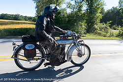 Ryan Allen riding his 1916 Indian Powerplus on the Motorcycle Cannonball coast to coast vintage run. Stage 5 (229 miles) from Bowling Green, OH to Bourbonnais, IL. Wednesday September 12, 2018. Photography ©2018 Michael Lichter.