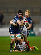 Connacht No.8 Paul Boyle makes a break during a European Challenge Cup Quarter Final match in Eccles, Greater Manchester, United Kingdom, Friday, March 29, 2019.  (Steve Flynn/Image of Sport)