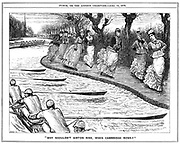 Roller skating very much in fashion. Lady students from Girton on the towpath waving to oarsmen rowing on the river. George du Maurier cartoon from 'Punch', London, 15 April 1876
