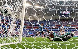 SAMARA, June 25, 2018  Russia's goalkeeper Igor Akinfeev (R bottom) misses a goal of Uruguay's Luis Suarez during the 2018 FIFA World Cup Group A match between Uruguay and Russia in Samara, Russia, June 25, 2018. (Credit Image: © Bai Xueqi/Xinhua via ZUMA Wire)