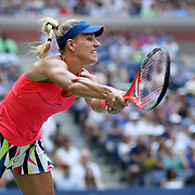 2016 U.S. Open - Day 13  Angelique Kerber of Germany in action against Karolina Pliskova of the Czech Republic in the Women's Singles Final on Arthur Ashe Stadium on day thirteen of the 2016 US Open Tennis Tournament at the USTA Billie Jean King National Tennis Center on September 10, 2016 in Flushing, Queens, New York City.  (Photo by Tim Clayton/Corbis via Getty Images)