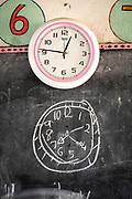 Close-up of chalk drawing of clock on blackboard, The Musoto Christian School, Uganda, Africa