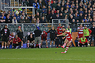 Gloucester fly half Owen Williams (10) coverts the ball to win the game 21-20 during the Aviva Premiership match between Bath Rugby and Gloucester Rugby at the Recreation Ground, Bath, United Kingdom on 29 October 2017. Photo by Gary Learmonth.