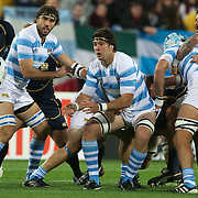 Patrico Albacete, Argentina, (centre) in action during the Argentina V Scotland, Pool B match at the IRB Rugby World Cup tournament. Wellington Regional Stadium, Wellington, New Zealand, 25th September 2011. Photo Tim Clayton...