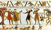 Bayeux Tapestry 1067:  In 1064 messengers from William of Normandy demand of Count Guy the release of Earl Harold Godwinson (later Harold II,  Anglo-Saxon king of England). Sowing and harrowing field in bottom border. Textile Linen