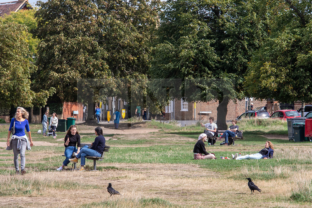 """© Licensed to London News Pictures. 12/09/2020. London, UK. Walkers and picnickers enjoy the glorious sunshine on Wimbledon Common in South West London this afternoon before the """"Rule of 6"""" comes into force on Monday as weather experts announce a 6 day mini heatwave in the South East of England this week with highs in excess of 29c. Prime Minister Boris Johnson is already under pressure after he announced on Friday that gatherings of more than six people will be banned from Monday in the hope of reducing the coronavirus R number. The Rule of Six as it is known, has already become unpopular with MPs and large families. Photo credit: Alex Lentati/LNP"""