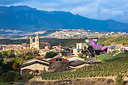 Marques de Riscal Bodega winery, vines and Hotel Marques de Riscal, designed by Frank O Gehry at Elciego in Rioja-Alavesa, Spain