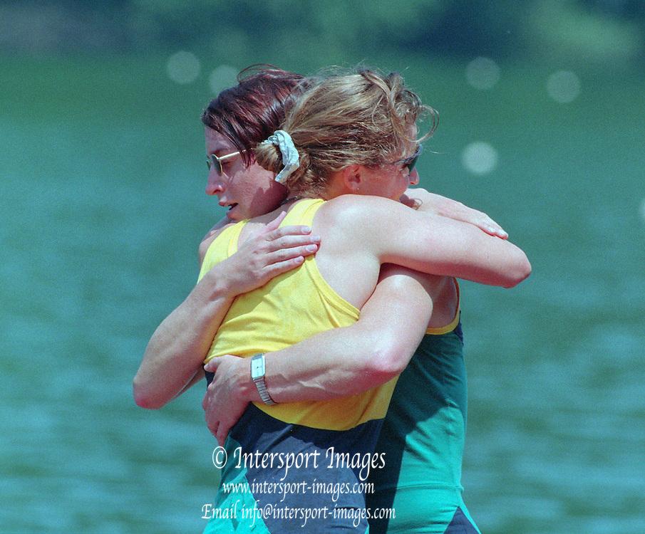 Lucerne, Switzerland. 1995 FISA WC III, Lake Rotsee, Lucerne,<br /> AUS W2-. Kate SLATTER and Megan STILL.<br /> [Mandatory Credit. Peter SPURRIER/Intersport Images]<br /> <br /> Image scanned from Colour Negative
