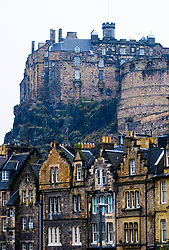 Edinburgh castle and old stone buildings in Grassmarket district of Edinburgh Scotland