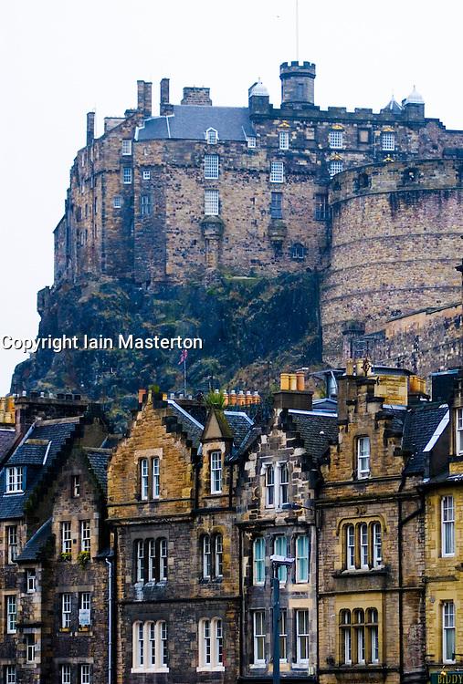 Edinburgh castle and old stone buildings in Grassmarket district of Edinburgh Scotland